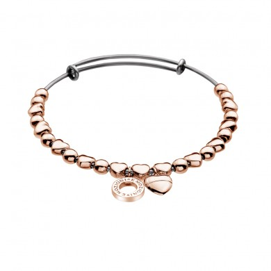 Emozioni Rose Gold Plate Heart Bangle