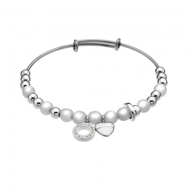 Emozioni Silver Plate Faux Mother of Pearl Bangle