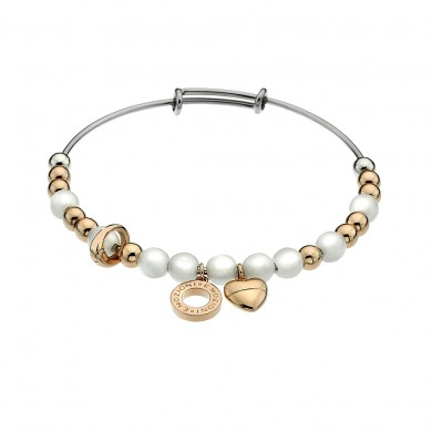 Emozioni Yellow Gold Plate Faux Mother of Pearl Bangle