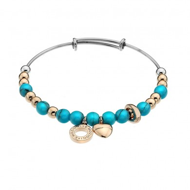 Emozioni Yellow Gold Plate Faux Turquoise Bangle