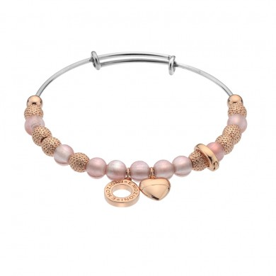 Emozioni Rose Gold Plate Ula Bangle - Rose Quartz