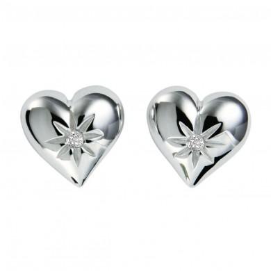 Two Hearts Silver Earrings