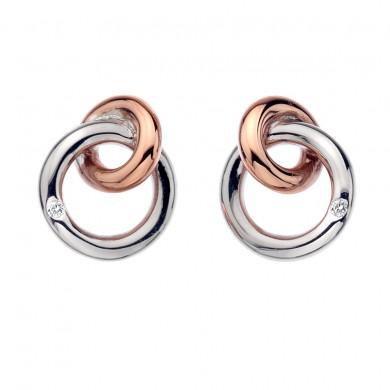Eternity Silver & 18ct Rose Gold Vermeil Interlocking Stud Earrings