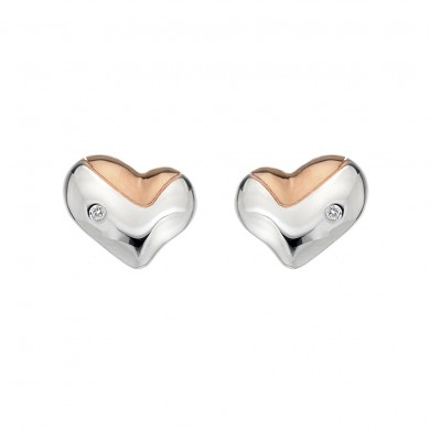 Lunar Heart Studs - Rose Gold Plated Accents