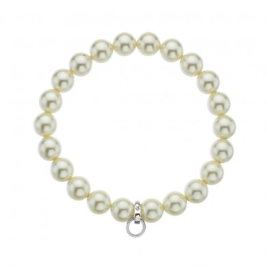 Cream Crystal Pearl Charm Carrier - Large