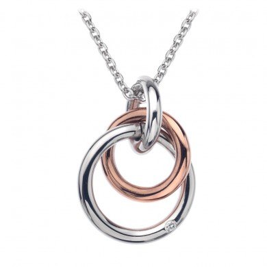 Eternity Silver & 18ct  Rose Gold Vermeil Captured Circles Pendant