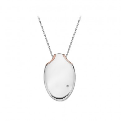 Lunar Oval Pendant - Rose Gold Plated Accents