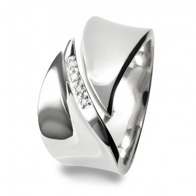 Pave Leaf Silver Ring