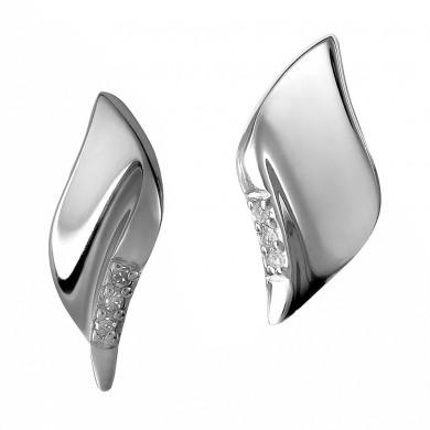 Pave Leaf Silver Stud Earrings