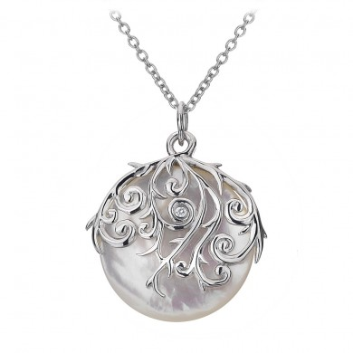 Wild Roses Orb Pendant - Mother of Pearl