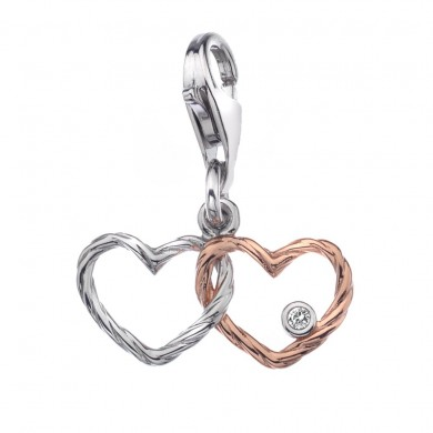 Tied Knot Silver & 18ct Rose Gold Vermeil Charm