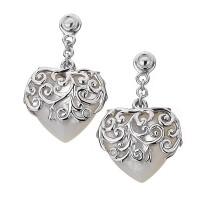 Wild Roses Love Heart Drop Earrings - Mother of Pearl