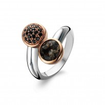 Ti Sento Ring,with black quartz